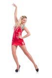 在红色礼服的妇女跳舞 库存图片