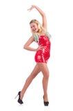 在红色礼服的妇女跳舞 免版税库存照片