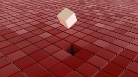 在红色立方体中的不同的白色立方体 免版税图库摄影
