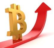 在红色箭头的Bitcoin标志 库存图片