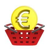 在红色篮子传染媒介的金黄欧盟硬币 免版税图库摄影