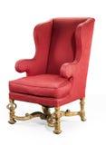 在红色老古董布置的大红色翼状靠背椅需要r 库存图片