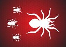 在红色背景上的蜘蛛网 r 皇族释放例证