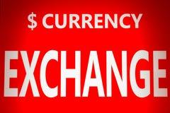 在红色背景的交换货币白色文本 免版税图库摄影