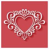 在红色背景的传染媒介Deco花卉心脏 免版税库存照片