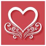 在红色背景的传染媒介Deco花卉心脏 库存照片