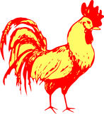 在红色背景的传统金银铜合金雄鸡当黄道带标志春节2017年 与的例证 免版税图库摄影