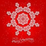 在红色背景的假日白色雪花 免版税库存照片