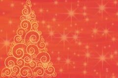 在红色背景的卷曲金黄圣诞树与 免版税库存图片