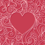 在红色背景的心脏框架 无缝鞋带的模式 免版税库存照片