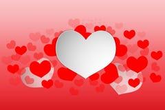 在红色背景的情人节心脏白色构思设计加工印刷纸样式 也corel凹道例证向量 库存照片