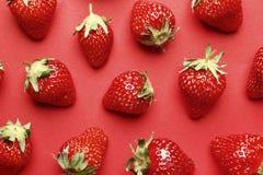 在红色背景的成熟水多的草莓 ?? 免版税库存图片