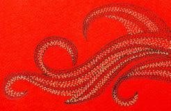 在红色背景的打旋的波形 库存例证