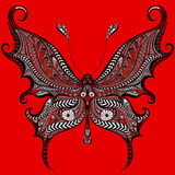 在红色背景的抽象传染媒介蝴蝶 免版税库存图片