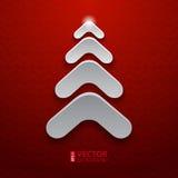 在红色背景的抽象白色圣诞节树 库存照片