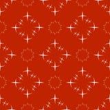 在红色背景的无缝的抽象白色特征模式 免版税图库摄影