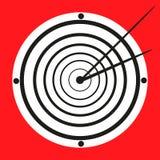 在红色背景的狭窄的看起来的黑白时钟 免版税图库摄影