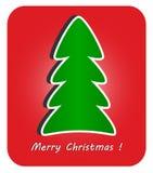 在红色背景的现代圣诞树 库存图片