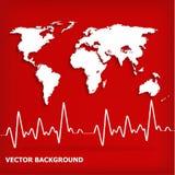 在红色背景的白色世界地图和心跳心电图 图库摄影