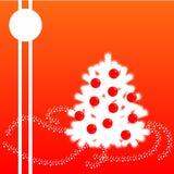 在红色背景的白色圣诞节冷杉 免版税图库摄影