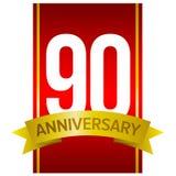 在红色背景的白色数字90 九十年标志 免版税库存照片