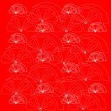 在红色背景的白色果子样式 免版税库存照片