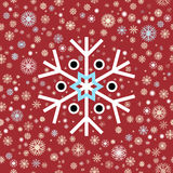 在红色背景的白色深蓝色冬天雪花 年底圣诞节和销售季节 免版税库存图片