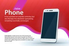 在红色背景的白色现代智能手机 销售和折扣横幅设计 与梯度和弯曲的colore的现代背景 免版税库存图片