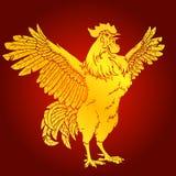 在红色背景的苍劲的雄鸡金子 库存图片