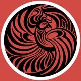 在红色背景的菲尼斯象征 也corel凹道例证向量 免版税库存照片