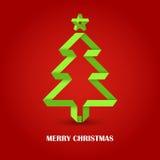 在红色背景的被折叠的纸圣诞节绿色树 免版税库存照片
