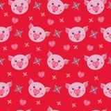 在红色背景的逗人喜爱的猪,无缝的样式 皇族释放例证
