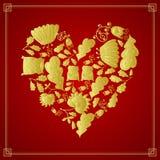 在红色背景的金黄心脏 皇族释放例证