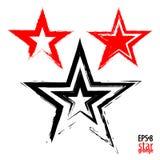 在红色背景的难看的东西星 模仿与一把干燥刷子的图画 免版税库存照片