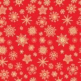 在红色背景的雪样式 Xmas乱画 向量例证