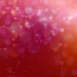 在红色背景的颜色Bokeh与心脏 10 eps 免版税库存照片