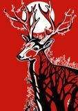 在红色背景的鹿 免版税库存图片