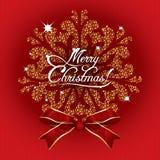 在红色背景的贺卡圣诞快乐 图库摄影