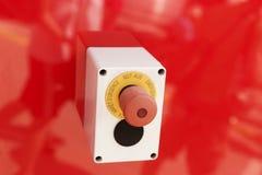在红色背景的紧急按钮 免版税库存图片