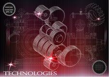 在红色背景的建造机器的图画,轮子 免版税库存照片