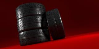 在红色背景设置的车轮 海报设计 栈 3d例证 库存例证