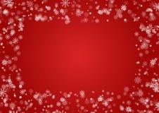 在红色背景隔绝的雪花圆的边界传染媒介 圣诞节落的雪框架 冬天Xmas 库存例证