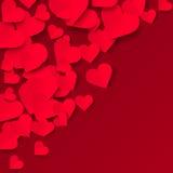 在红色背景,华伦泰例证的红色纸心脏 库存照片