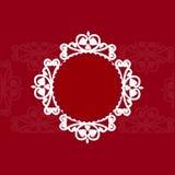 在红色背景3D的透雕细工圆的框架 免版税库存图片