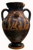 在红色花瓶的古老黑色陶瓷希腊 免版税库存图片