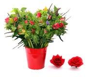 在红色花盆的银莲花属花束 图库摄影