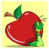 在红色苹果外面的快乐的蠕虫 免版税图库摄影