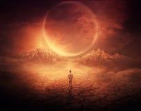 在红色行星的步行 免版税图库摄影