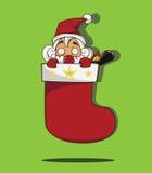 在红色袜子里面的圣诞老人。 免版税库存图片