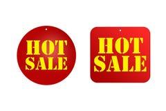 在红色贴纸设计的热的销售推销活动,销售的概念,广告,海报,飞行物您创造性的项目的  免版税库存照片
